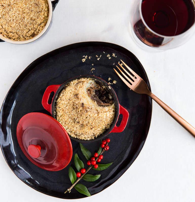 Parmentier of Duck Confit, Raisins and Jerusalem Artichoke Purée