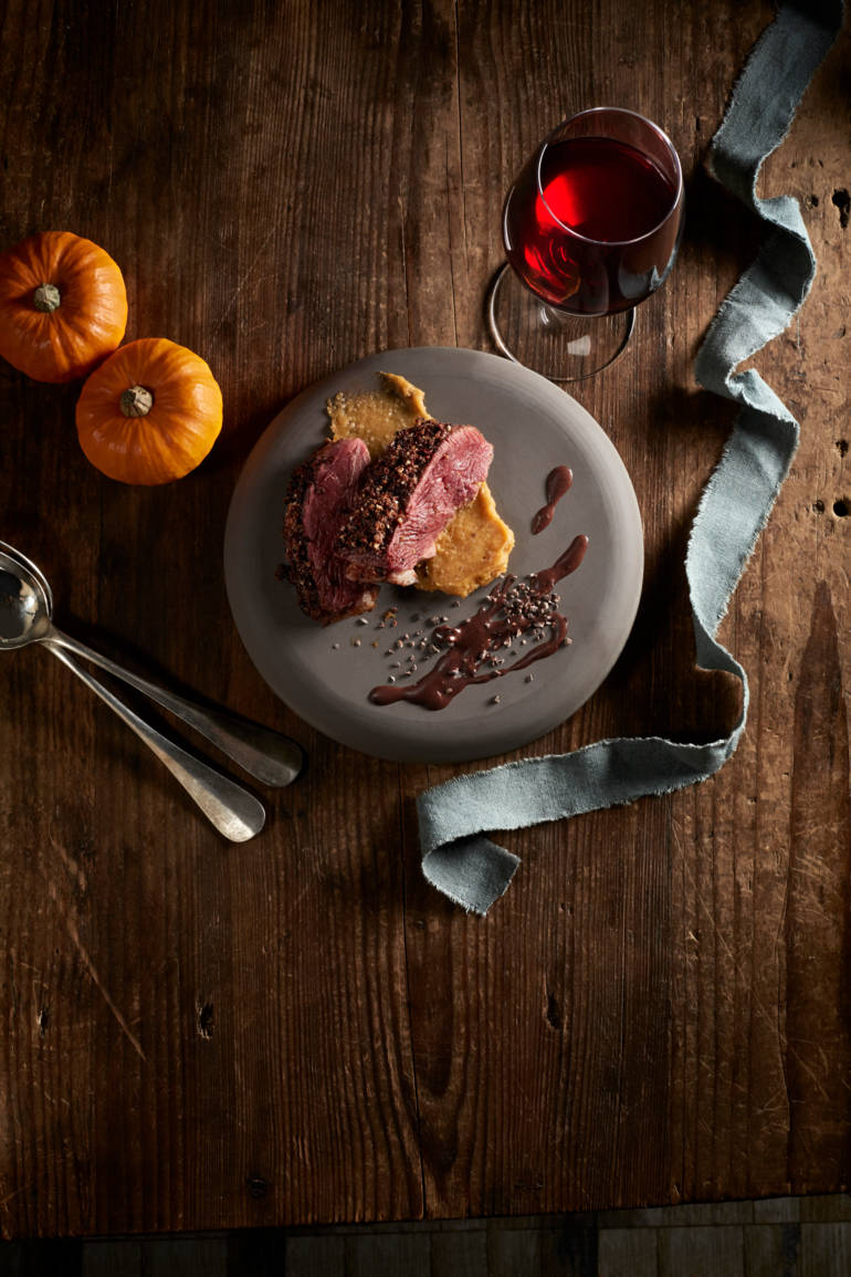 Hazelnut and Cocoa Nib Crusted Duck Breast