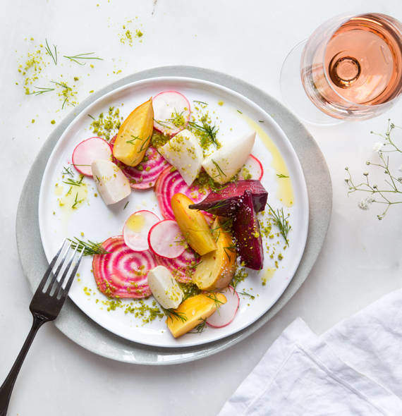 Marinated colourful beetroot and white turnip
