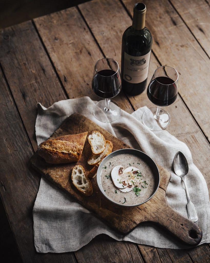 mushroom soup and wine