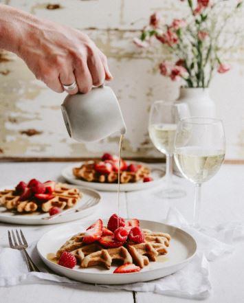 raspberry waffles bordeaux wine