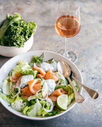 Smoked Salmon Salad rosé wine