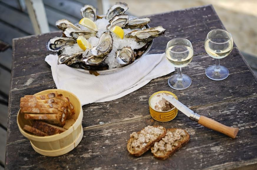 Oysters and white Bordeaux wine picnic
