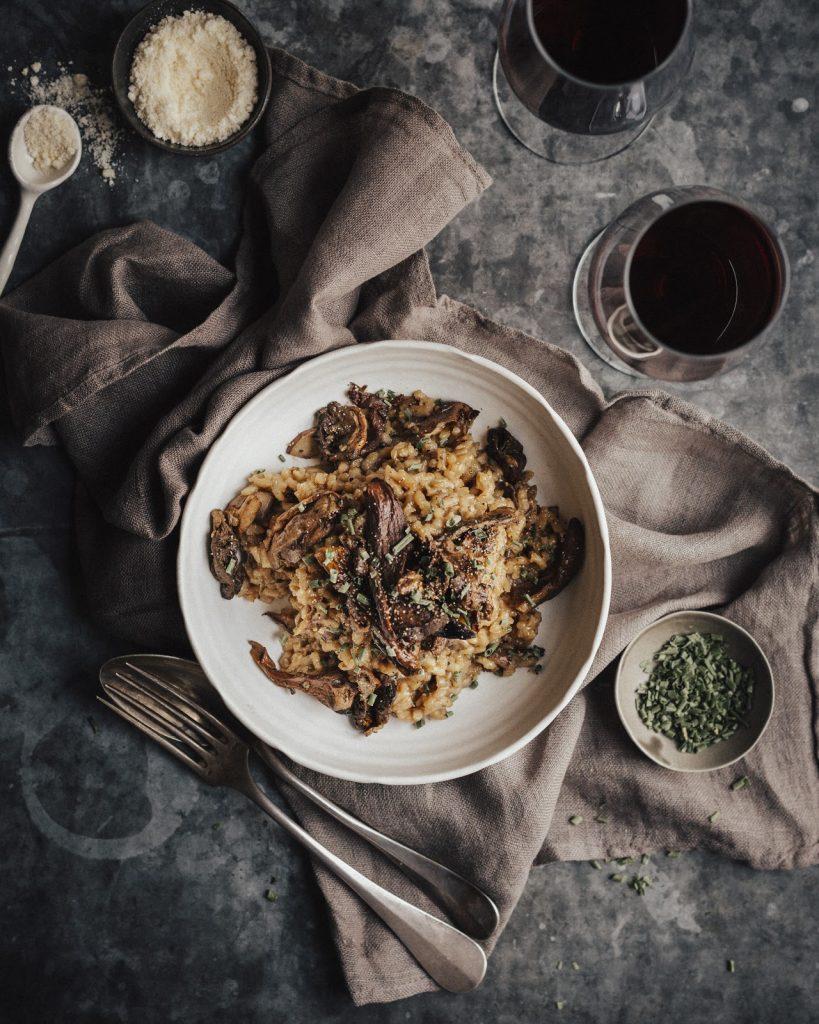risotto mushroom red bordeaux wine