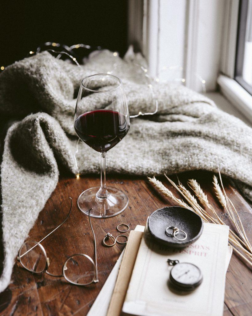 raam rode wijn dekentje
