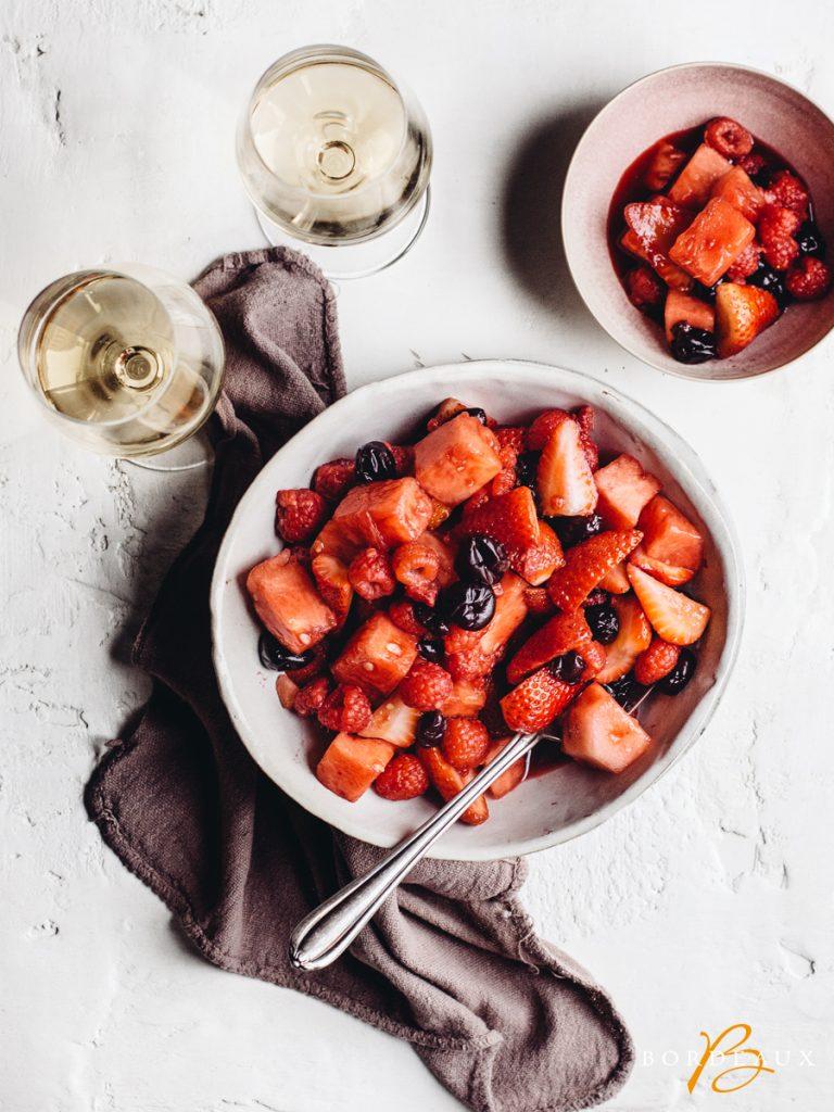 vin fraise salade