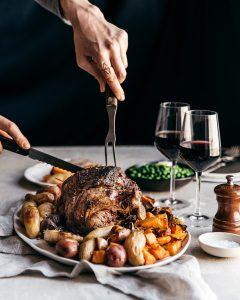christmas dinner meal turkey red wine