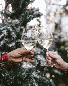 christmas white wine cheers