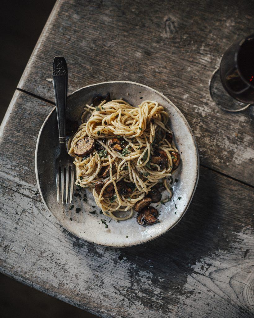 spaghetti champignon vegan