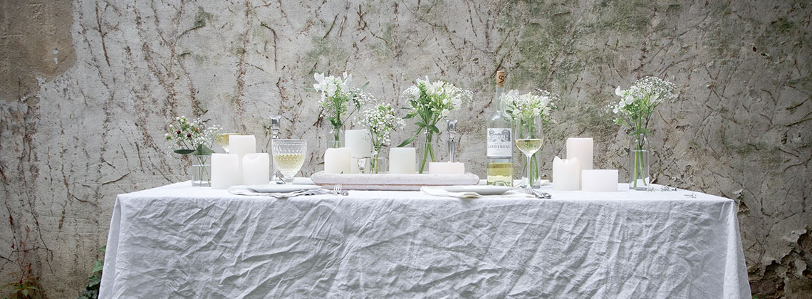 Ein weißes Dinner mit passenden Weinen aus dem Bordelais
