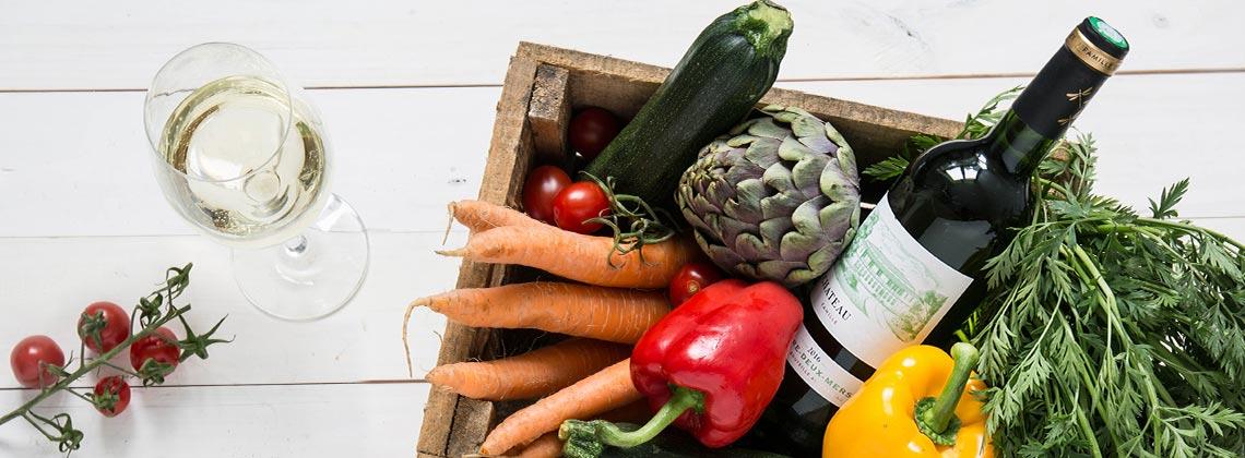 Weißer Bordeaux und Gemüse