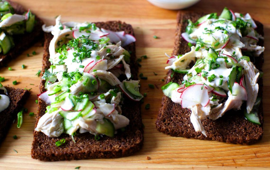 Spring chicken salad toasts by Smitten Kitchen