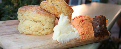 Chef Govind Armstrong's Buttermilk Biscuits with Bacon Jam and Pimento Cheese