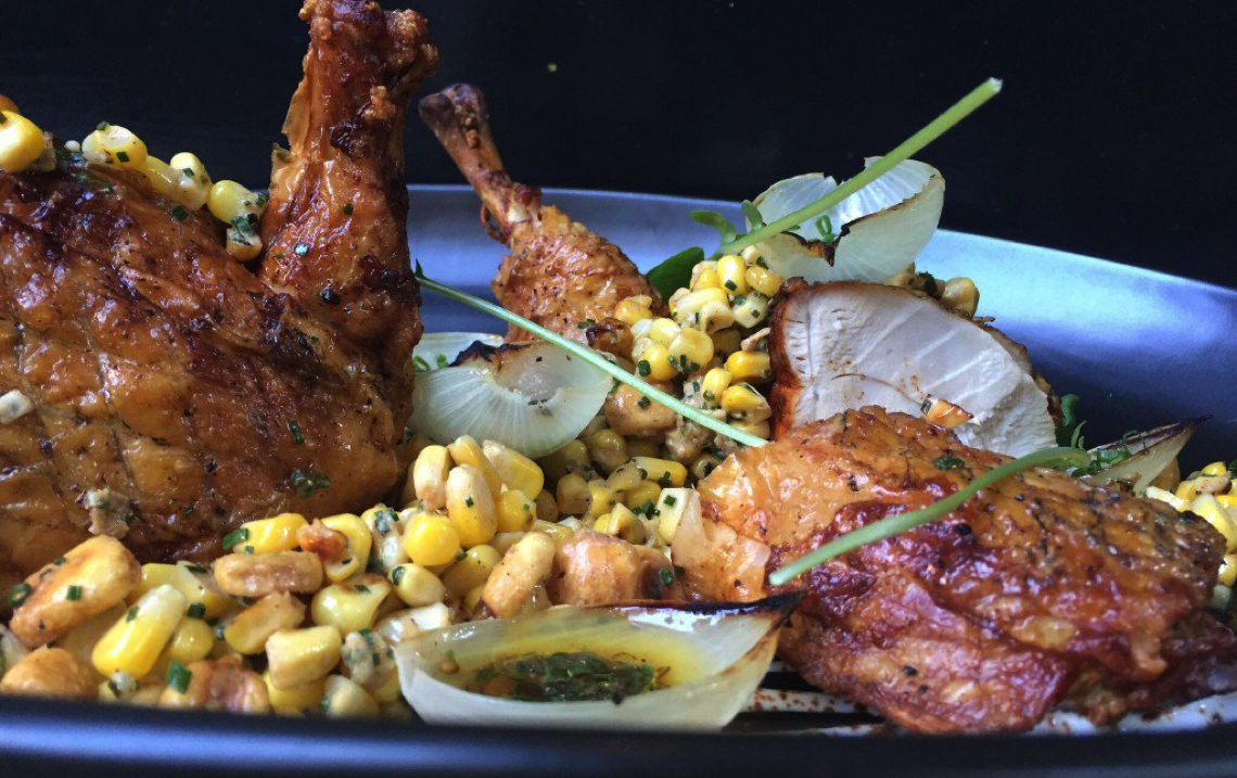 Chef Justin Smillie's Smoked Chicken and Seared Corn Recipe