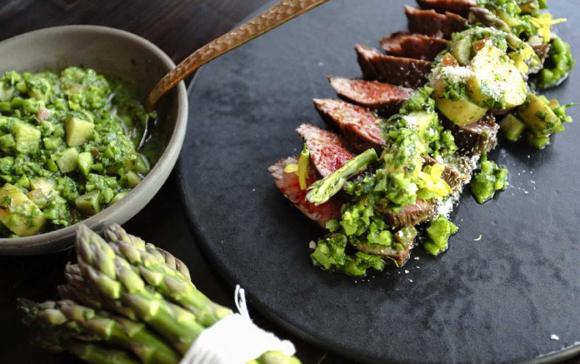Chef Nyesha Arrington's Grilled Asparagus Pistou Recipe