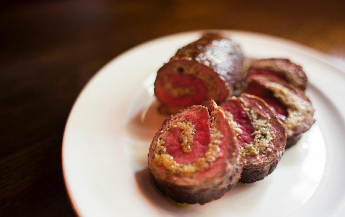 Oyster Mushroom Stuffed Flat Iron Roast [RECIPE]