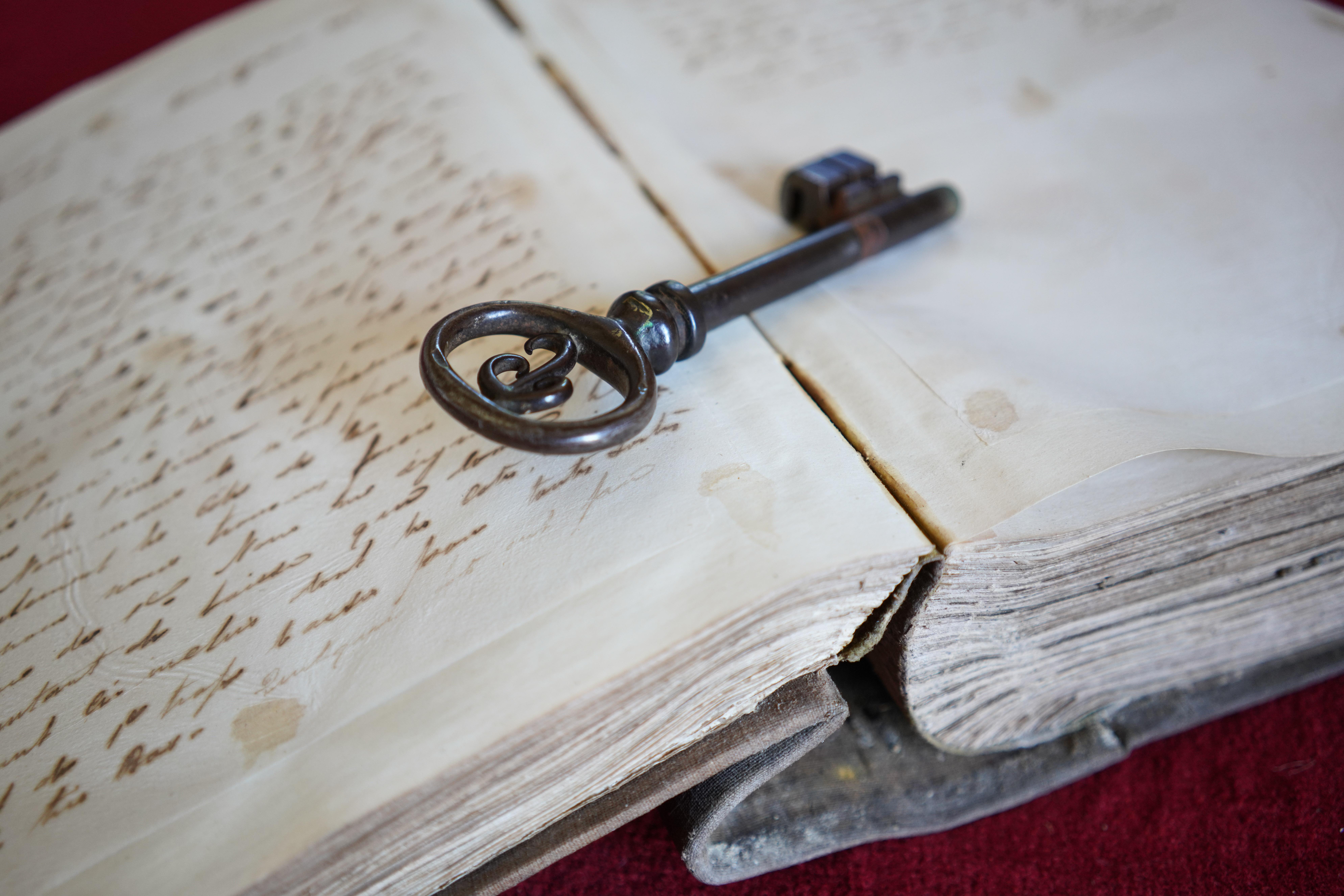 boek schrift sleutel