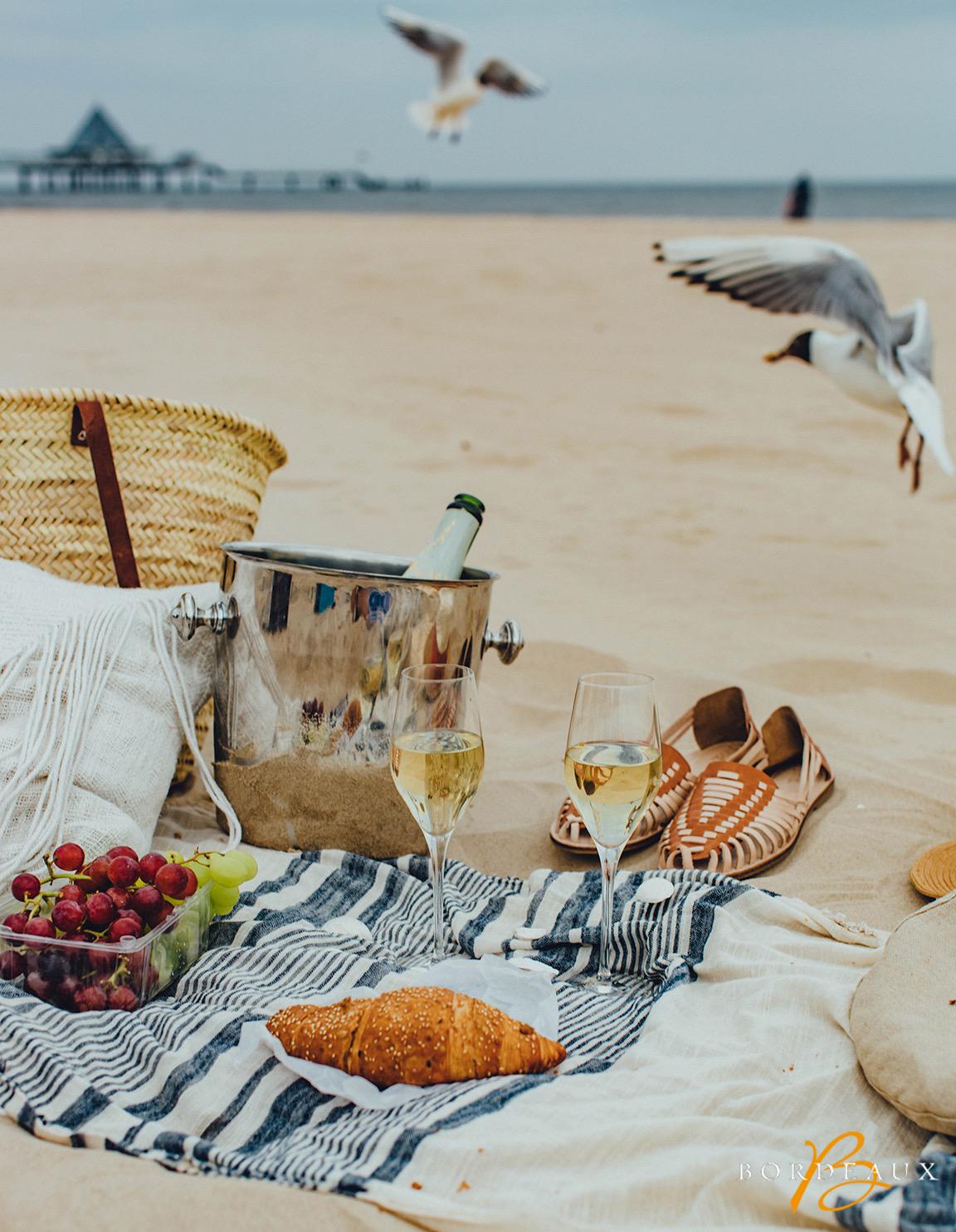 pique-nique mer vin blanc