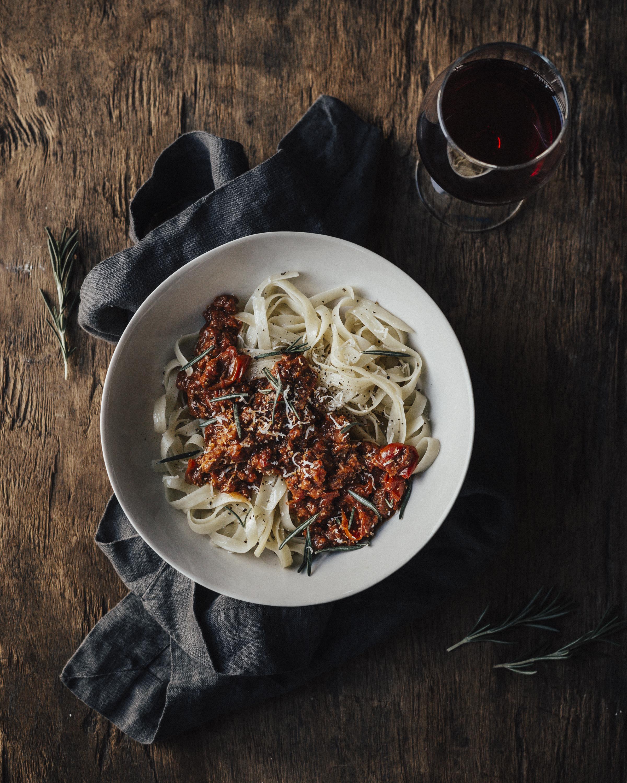 spaghetti bolognese vin rouge