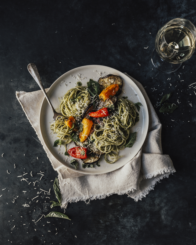 spaghetti groentjes pesto paprika