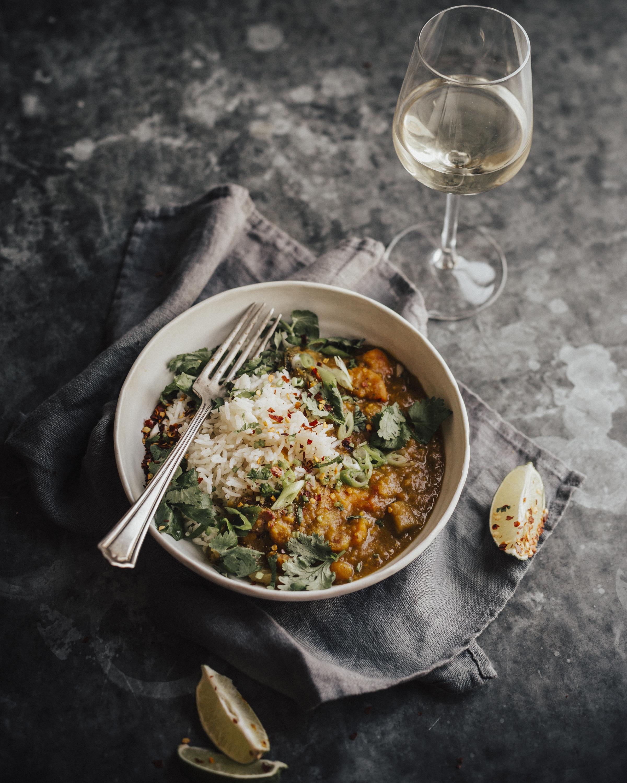 rijst curry basilicum wijn