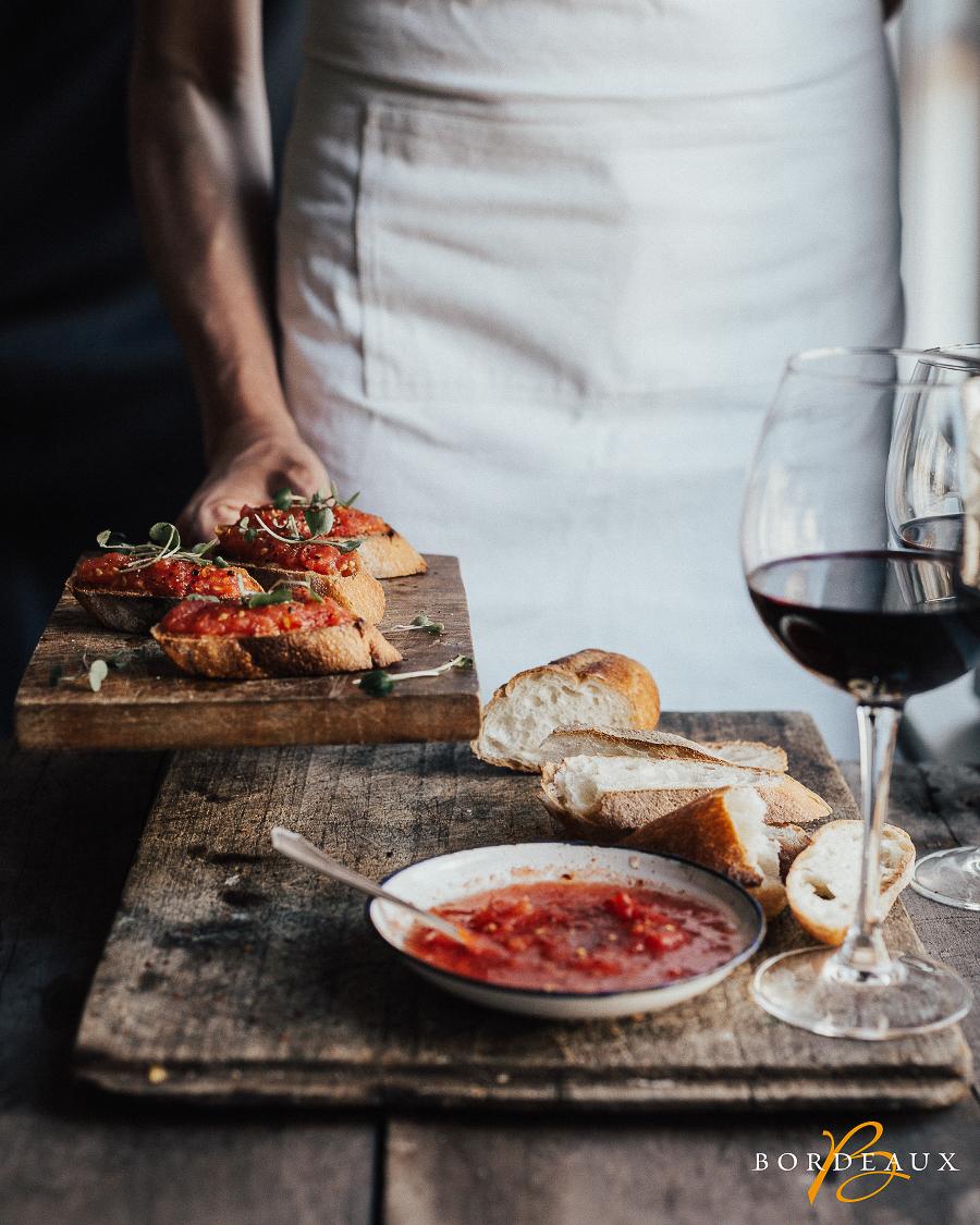 toast tomate vin